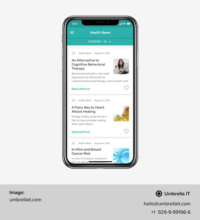 content in mobile app